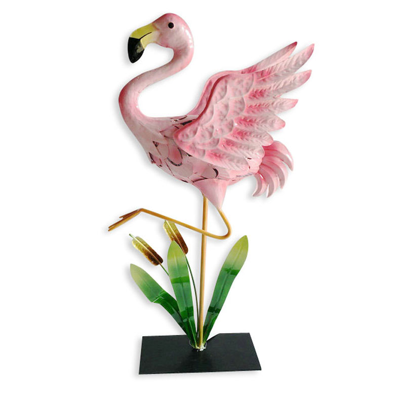 Metal Construction  Flamingo Garden Yard Art Statues Decoration